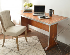 Metal-Trimmed Diamond Desk