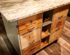 Kitchen Island w/ Wine Crate Drawers