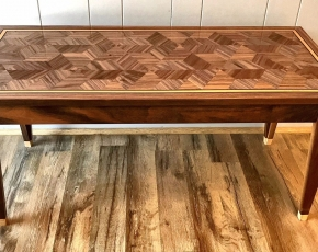 Geometric Walnut Coffee Table